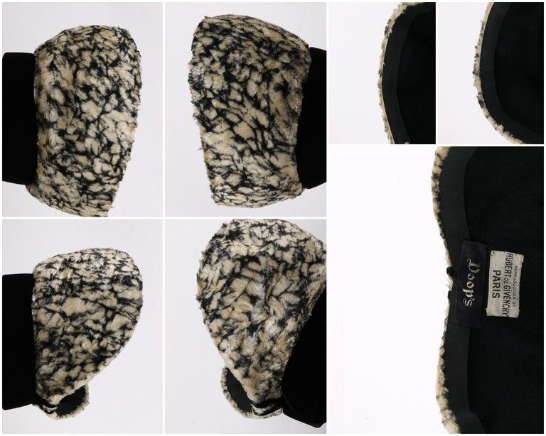 HUBERT de GIVENCHY c.1950's Silk Velvet Juliette Calot Cap Hat For Sale 7