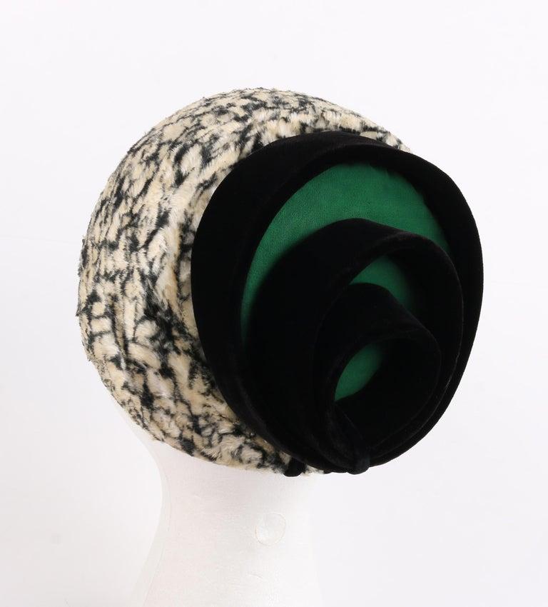 Black HUBERT de GIVENCHY c.1950's Silk Velvet Juliette Calot Cap Hat For Sale