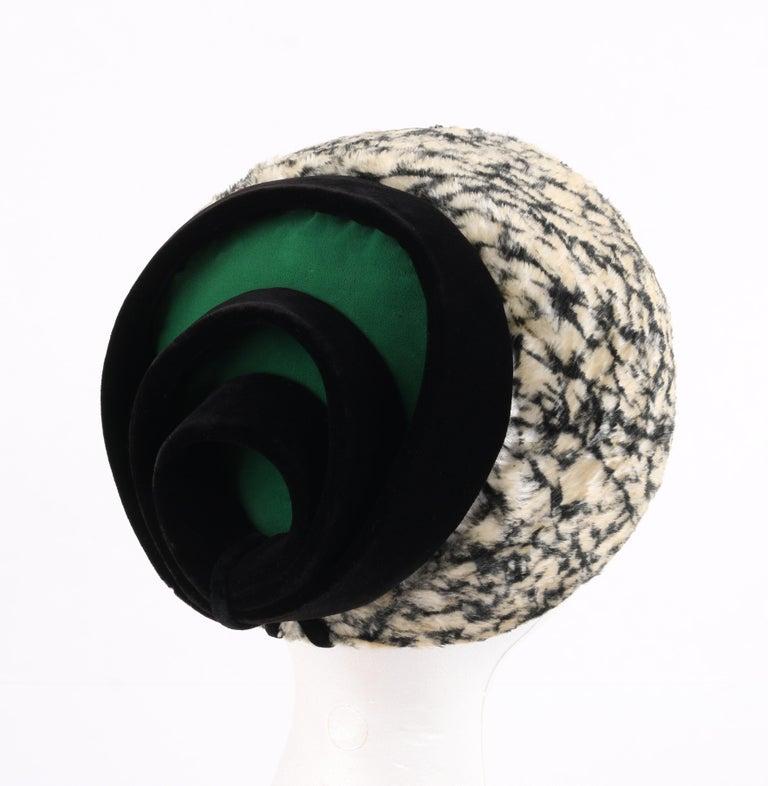 HUBERT de GIVENCHY c.1950's Silk Velvet Juliette Calot Cap Hat In Good Condition For Sale In Thiensville, WI