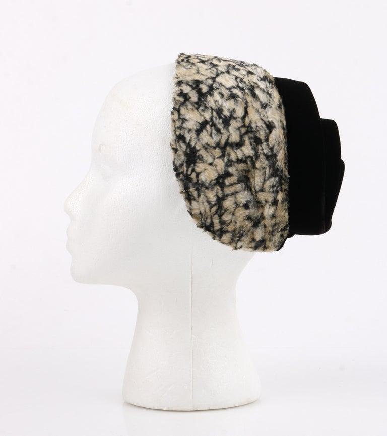 HUBERT de GIVENCHY c.1950's Silk Velvet Juliette Calot Cap Hat For Sale 2