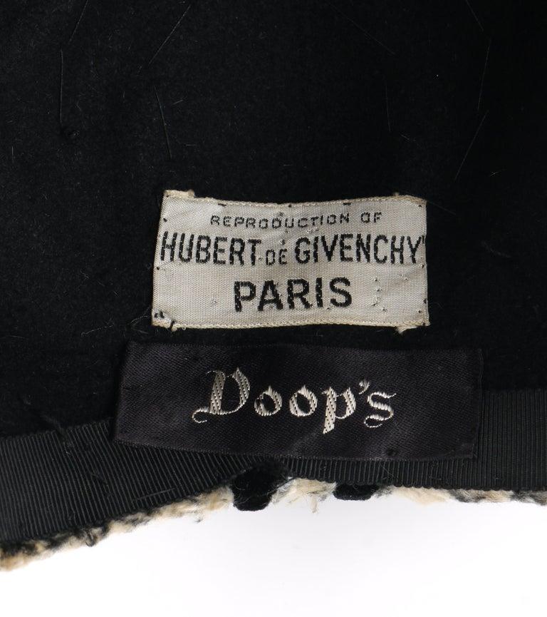HUBERT de GIVENCHY c.1950's Silk Velvet Juliette Calot Cap Hat For Sale 4