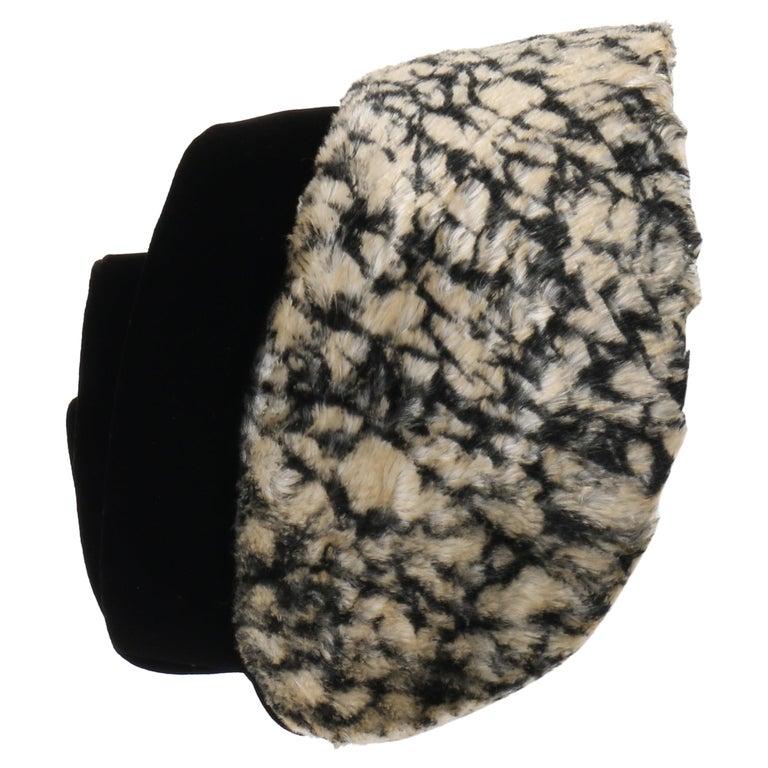 HUBERT de GIVENCHY c.1950's Silk Velvet Juliette Calot Cap Hat For Sale