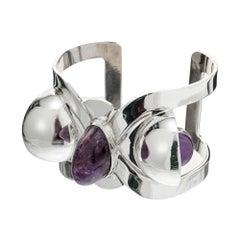 Hubert Harmon Modernist Amethyst Sterling Silver Cuff Bracelet