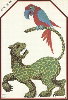1974 Hubert Hilscher 'Cyrk Jaguar and Parrot' Vintage Green,Red,Blue,Yellow Pola