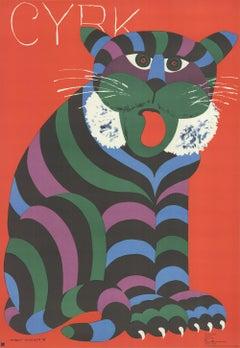 1975 Hubert Hilscher 'Cyrk Tiger' Vintage Red,Blue,Green,Black,Purple Poland Lit