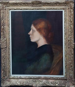 Portrait of the Artist's second Wife Charlotte - British Edwardian oil painting