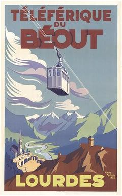 Lourdes Teleferique du Beout original vintage French travel poster
