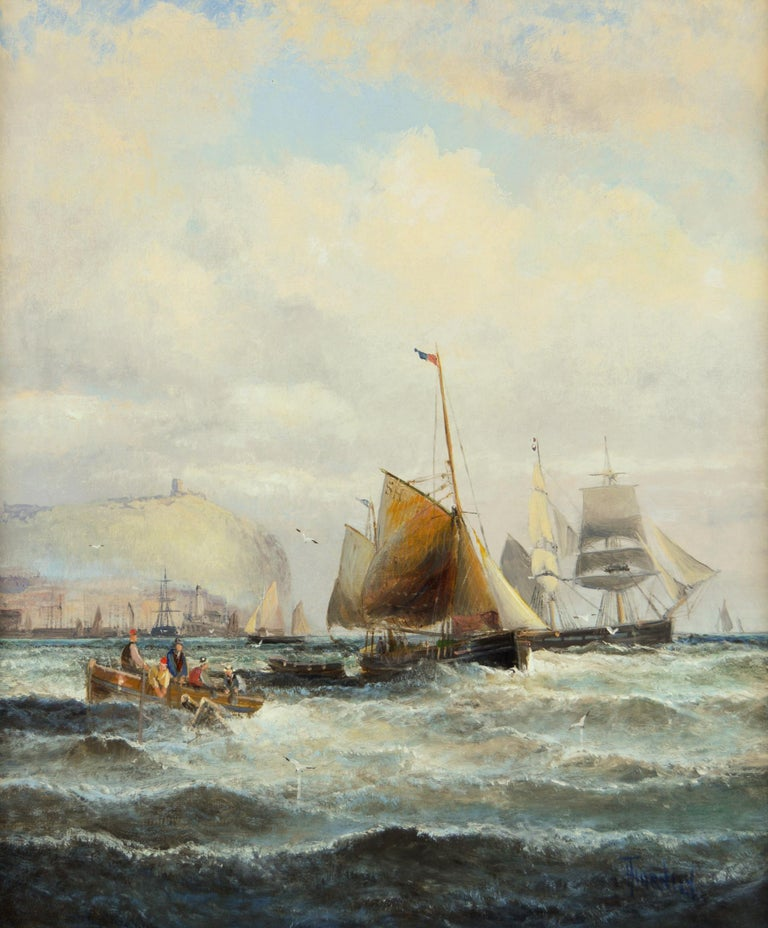 19th Century marine seascape oil painting of shipping off Scarborough - Painting by Hubert Thornley