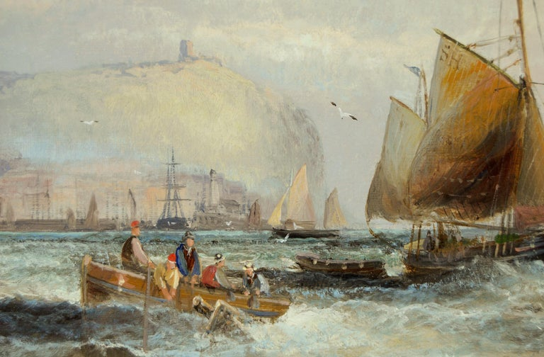 19th Century marine seascape oil painting of shipping off Scarborough - Victorian Painting by Hubert Thornley