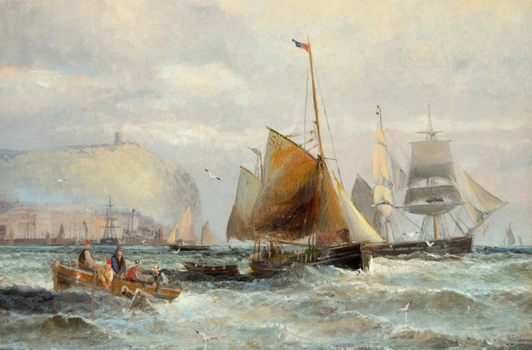 19th Century marine seascape oil painting of shipping off Scarborough - Brown Landscape Painting by Hubert Thornley