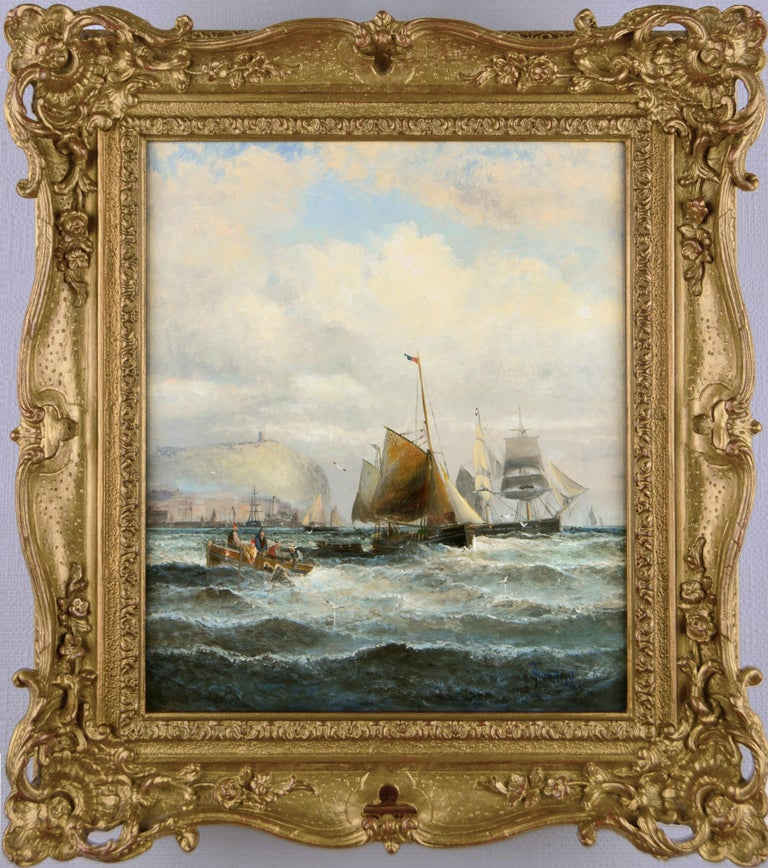 Hubert Thornley Landscape Painting - 19th Century marine seascape oil painting of shipping off Scarborough