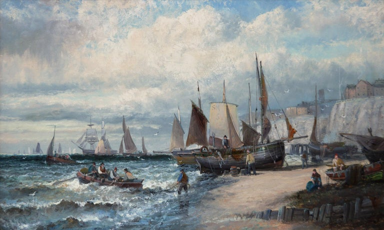 19th Century pair of seascape oil paintings of boats at Dover & the Medway - Painting by Hubert Thornley