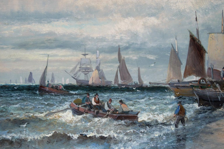 19th Century pair of seascape oil paintings of boats at Dover & the Medway - Victorian Painting by Hubert Thornley