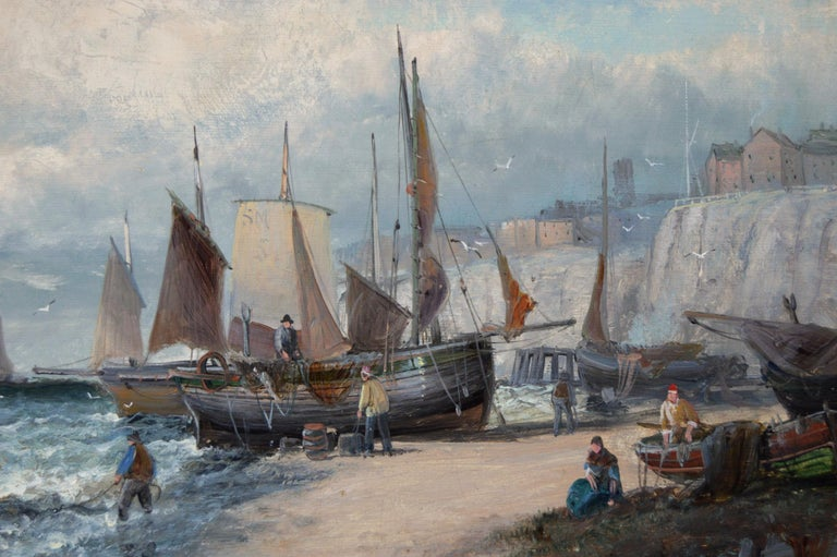 19th Century pair of seascape oil paintings of boats at Dover & the Medway - Brown Landscape Painting by Hubert Thornley