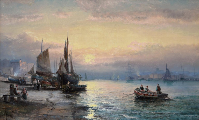 19th Century pair of seascape oil paintings of boats at Dover & the Medway For Sale 2