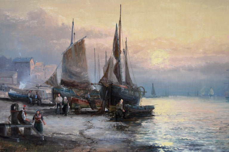 19th Century pair of seascape oil paintings of boats at Dover & the Medway For Sale 3
