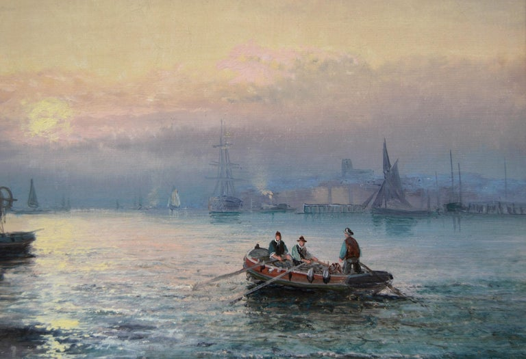 19th Century pair of seascape oil paintings of boats at Dover & the Medway For Sale 4