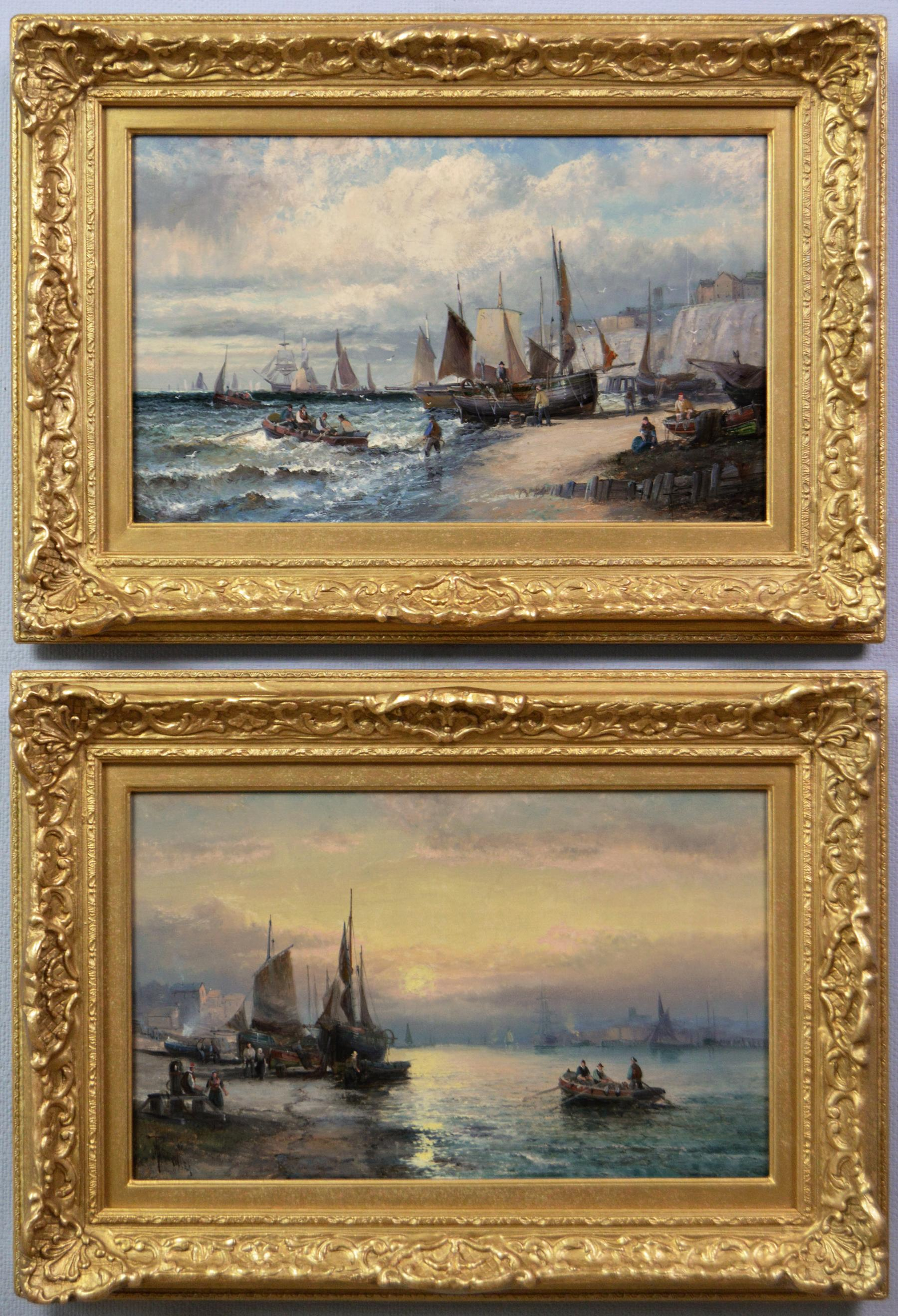 19th Century pair of seascape oil paintings of boats at Dover & the Medway