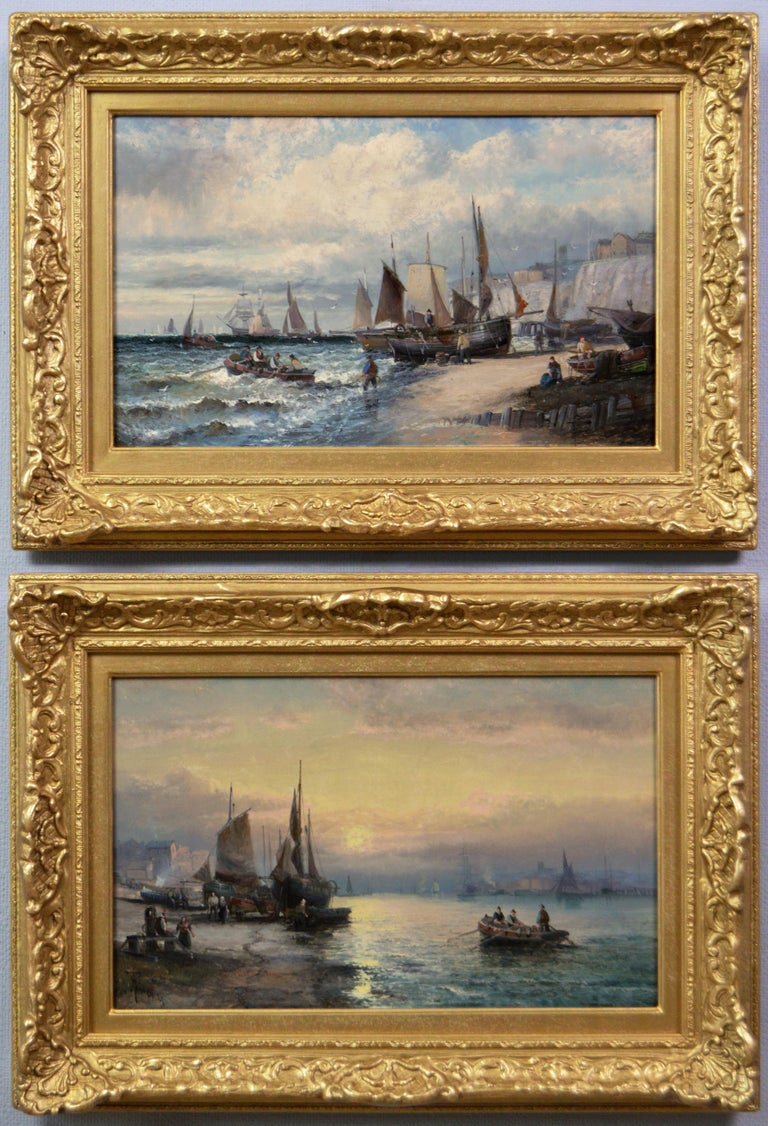 Hubert Thornley Landscape Painting - 19th Century pair of seascape oil paintings of boats at Dover & the Medway