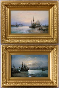 19th Century pair of seascape oil paintings of fishing boats off a shore