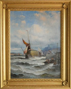 19th Century seascape oil painting of a hay barge on the Medway