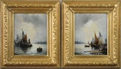 Pair of 19th Century seascape oil paintings