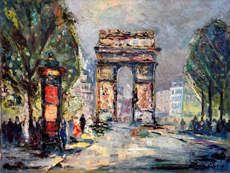 "Hubert Valerio Landscape Painting - ""Paris 1966""  Arc de Triomphe Paris France  Mid Century Heavy Impasto"