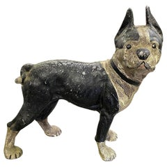 Hubley Cast Iron Painted Boston Terrier Dog Antique Bank Doorstop, Early 1900s