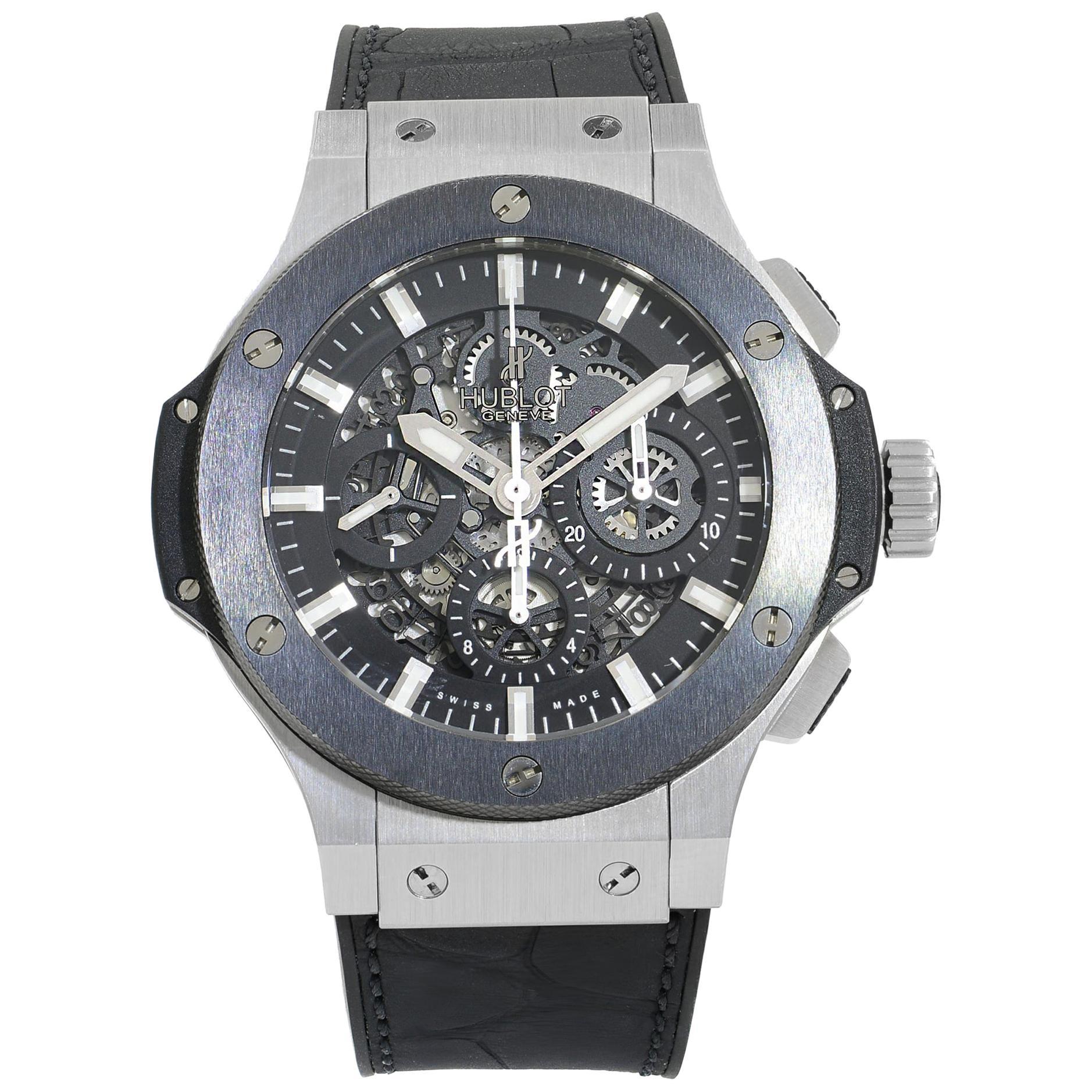 Hublot Big Bang Aero Black Skeleton Steel Automatic Men's Watch 311.SM.1170.GR