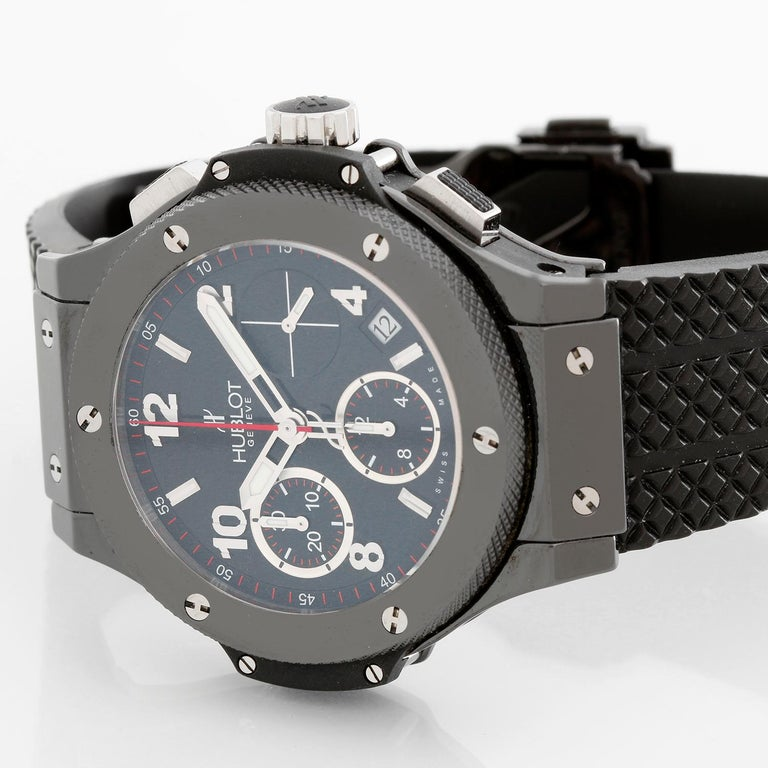 Hublot Big Bang Black Magic 41mm Automatic Men's Chronograph Watch 342.CX.130.RX - Automatic winding chronograph. Black ceramic case with exposition back (41mm diameter). Black dial with Arabic numerals and stick markers; subseconds dial; hour,