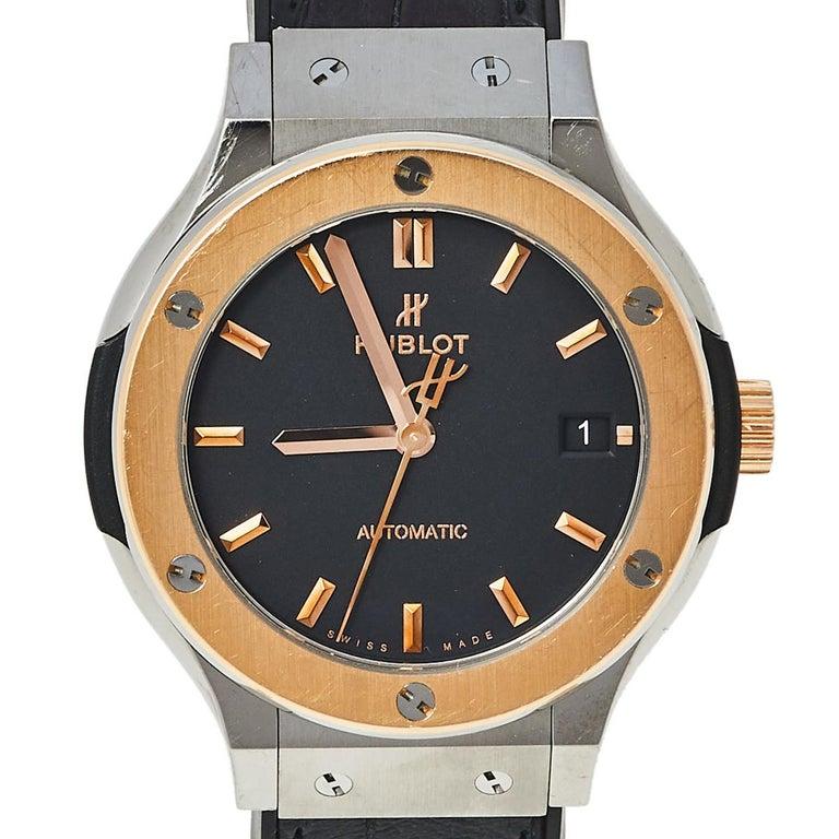 Contemporary Hublot Black 18K Rose Gold And Titanium Classic Fusion Unisex Wristwatch 38.5 mm