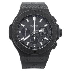 Hublot Black Carbon Fibre & Rubber Big Bang Chronograph Men's Wristwatch 44 MM