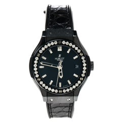 Hublot Black Ceramic and Diamonds Classic Fusion Women's Wristwatch 33 mm