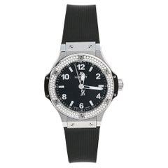 Hublot Black Stainless Steel Rubber Diamonds Big Bang  Women's Wristwatch 38 mm
