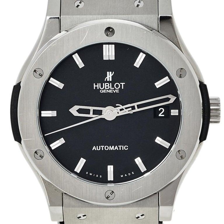 Contemporary Hublot Black Titanium Classic Fusion 511.NX.1170.LR Men's Wristwatch 45 mm