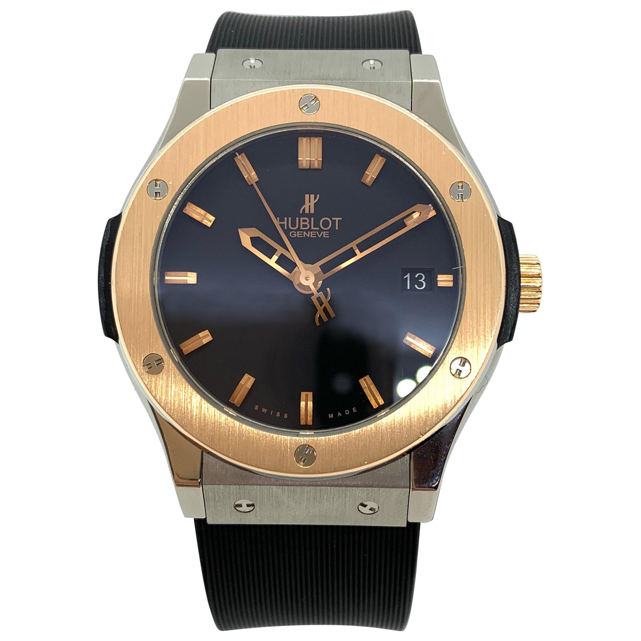 Hublot Classic Fusion Automatic Wristwatch, Titanium and 18 Karat Gold