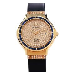 Hublot MDM Blue Sapphire Bezel Diamond Dial 18k Gold Ladies Watch 1