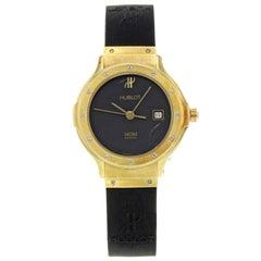 Hublot MDM Geneve 18 Karat Gold Black Dial Rubber Quartz Ladies Watch 1391.3