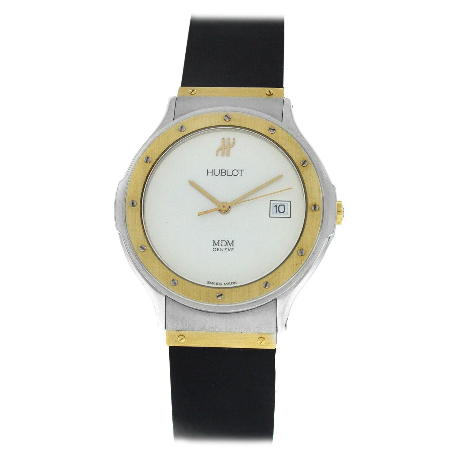 Hublot MDM Geneve Classic White Dial 18k Gold/Steel Quartz Watch 1523.2