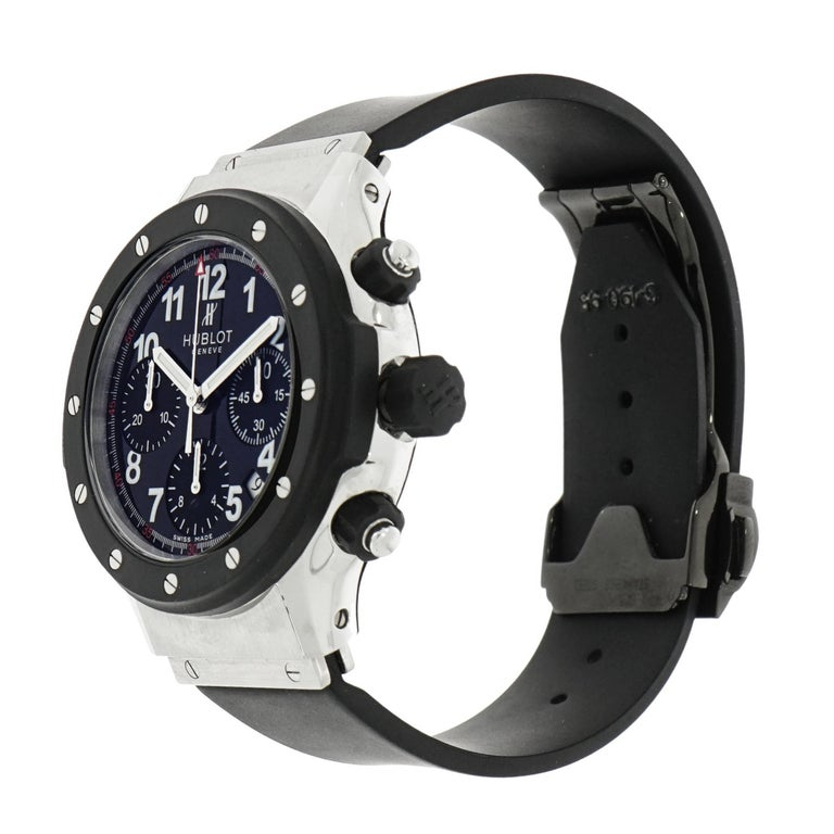 Hublot Stainless Steel Super B Black Magic self-winding Wristwatch In Excellent Condition For Sale In Greenwich, CT