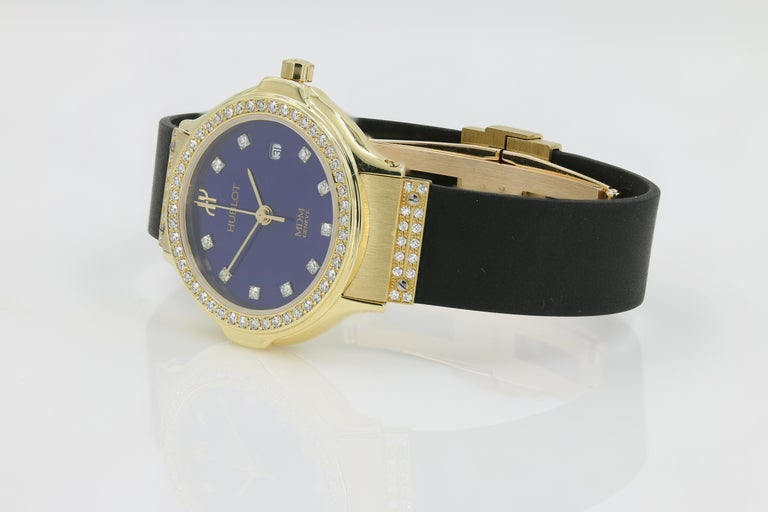 Hublot Watch, Ladies 18 Karat Yellow Gold with Diamonds In Excellent Condition In Chicago, IL