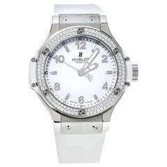 Hublot White Stainless Steel Rubber Diamond Big Bang  Women's Wristwatch 38 mm