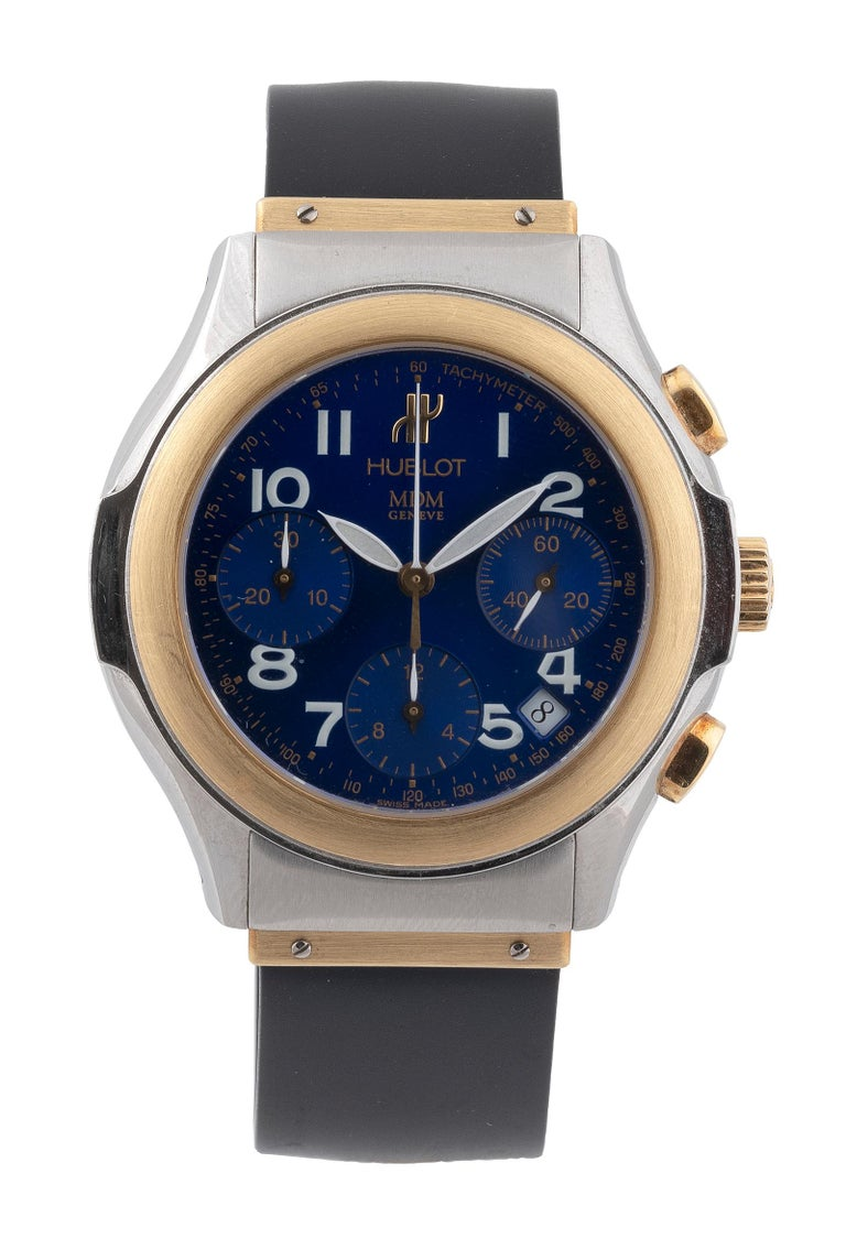Hublot Yellow Gold Stainless Steel Chronograph Automatic Wristwatch In Excellent Condition In Firenze, IT