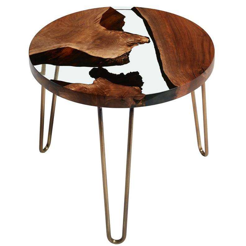 Hudson 60 Epoxy Resin Coffee Table, Walnut And Resin Side Table, Clear Resin