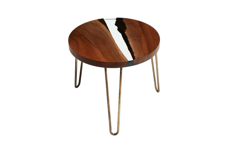 Superb Hudson 60 Round Clear Epoxy Resin Coffee Table With Brass Finish Hairpin Legs Pabps2019 Chair Design Images Pabps2019Com
