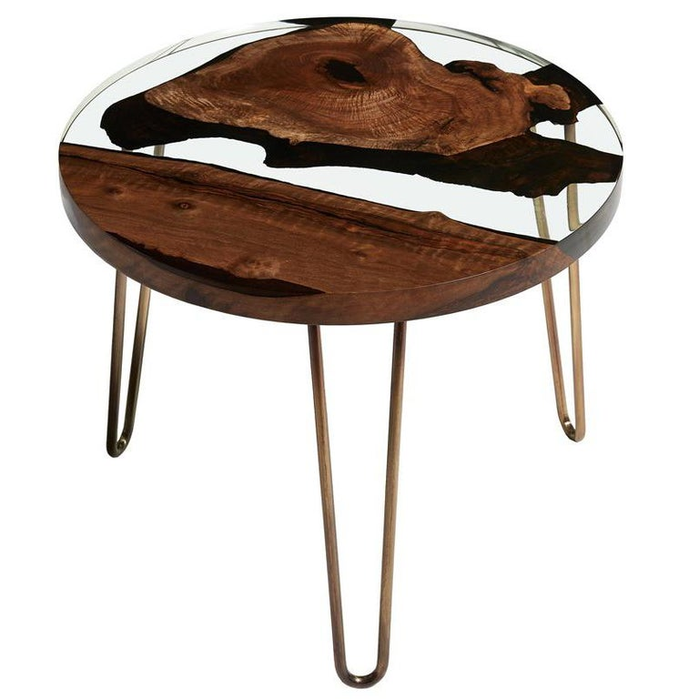 Round Wood Hairpin Coffee Table: Hudson 60 Round Clear Epoxy Resin Coffee Table With Brass