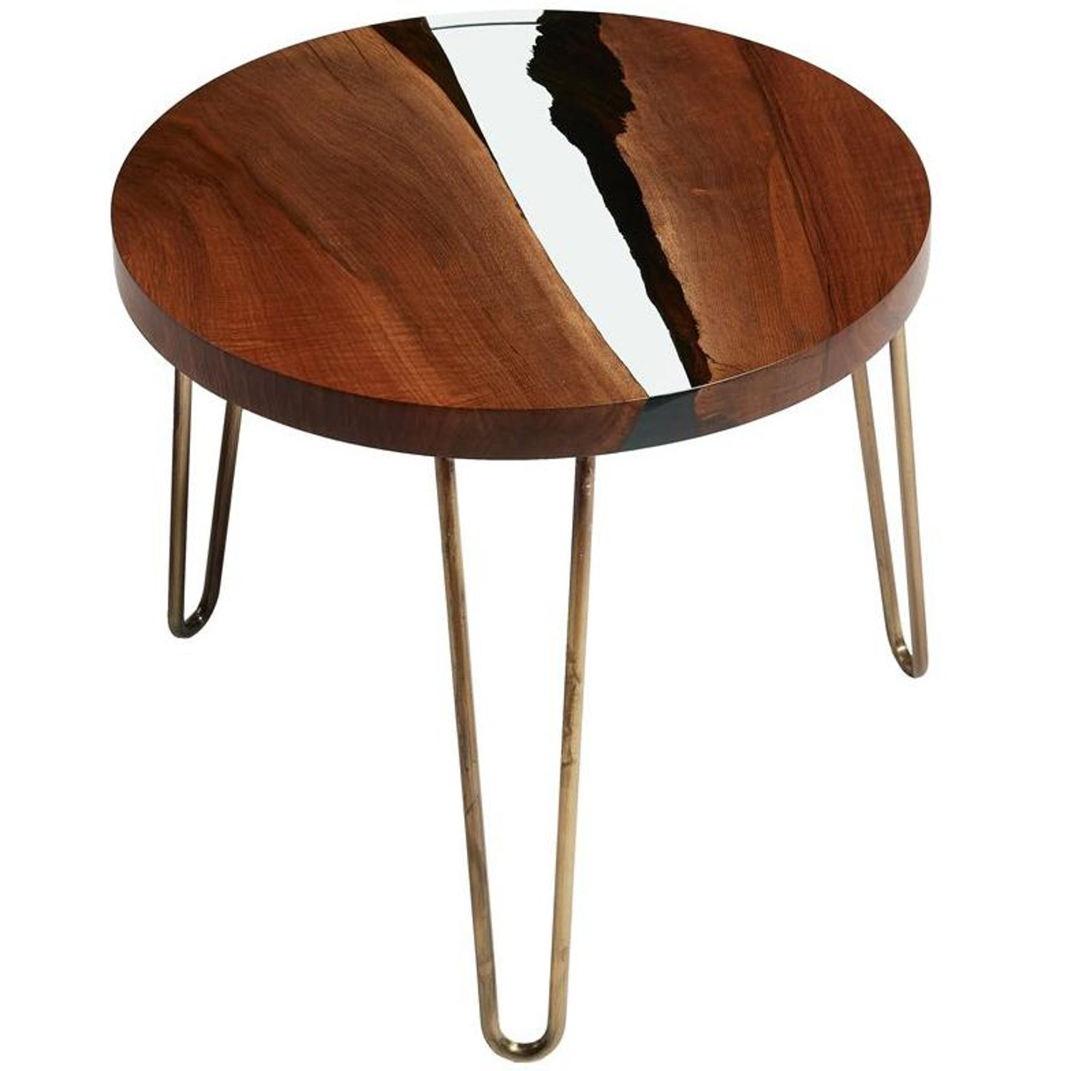 Hudson 60 Round Clear Epoxy Resin Coffee Table With Brass Finish
