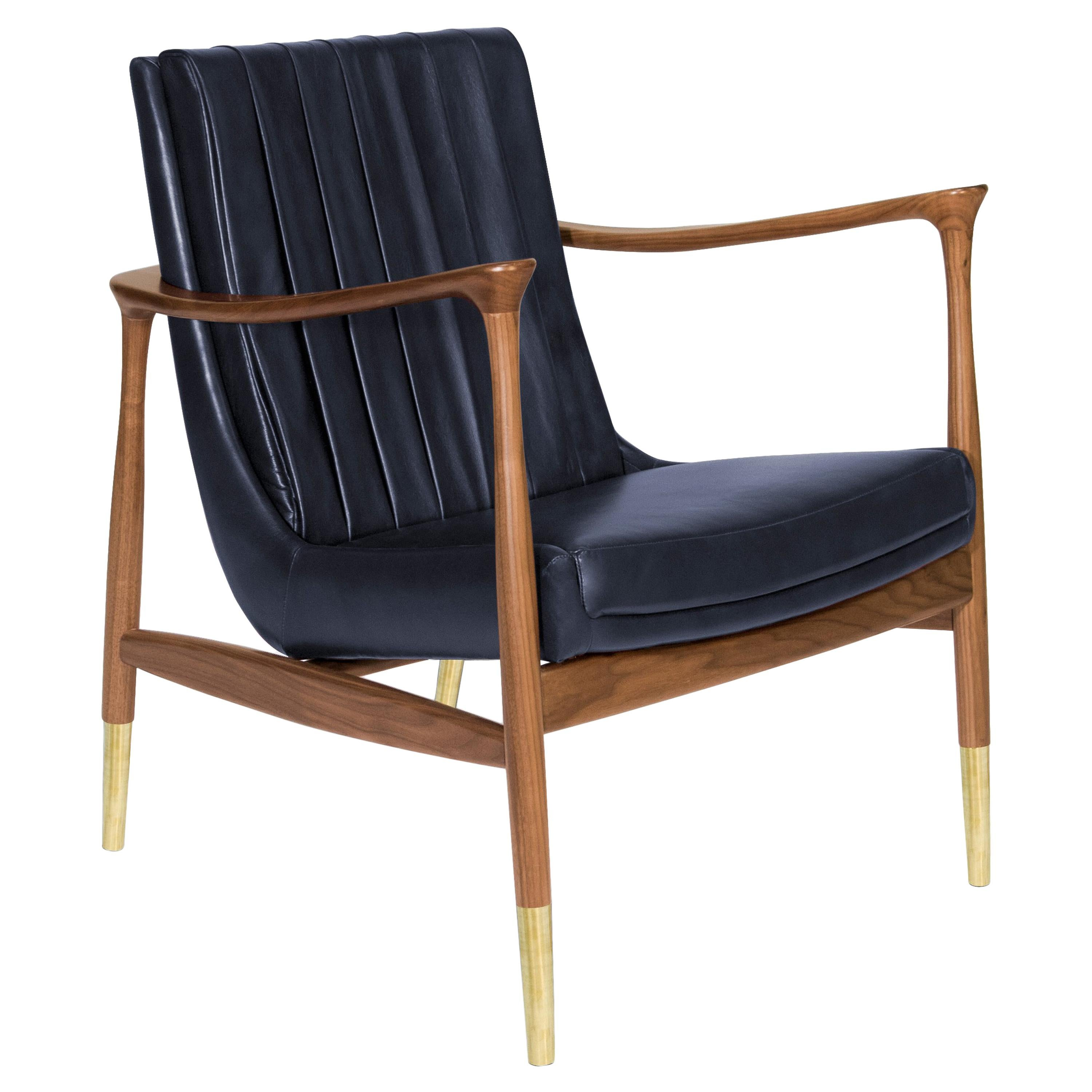 Hudson Armchair In Navy Blue For Sale
