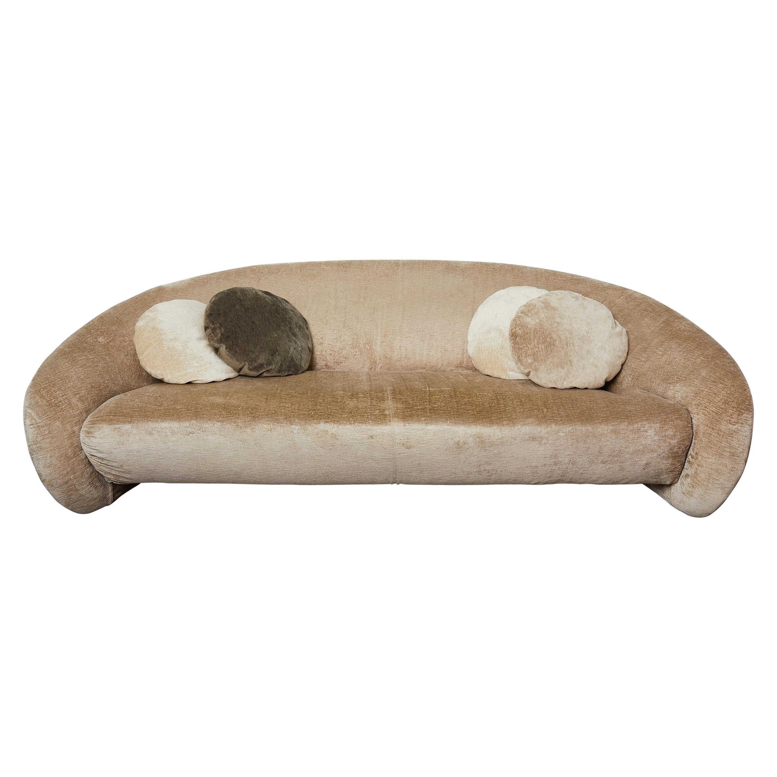 """Hudson"" Beige Velvet Curved Sofa by Roberto Lazzeroni for Ipe Cavalli, Italy"