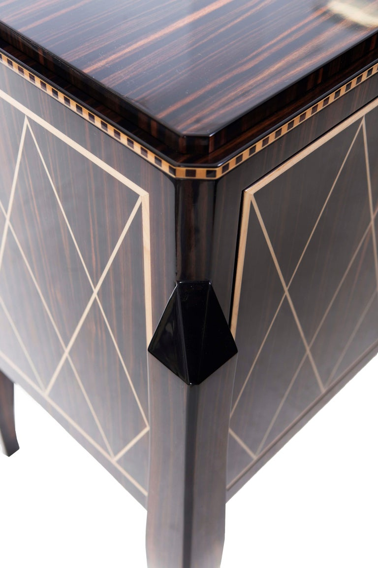 Lacquered Hudson Cabinet, a Modern Twist on a Regency Design, in Macassar Ebony & Sycamore For Sale